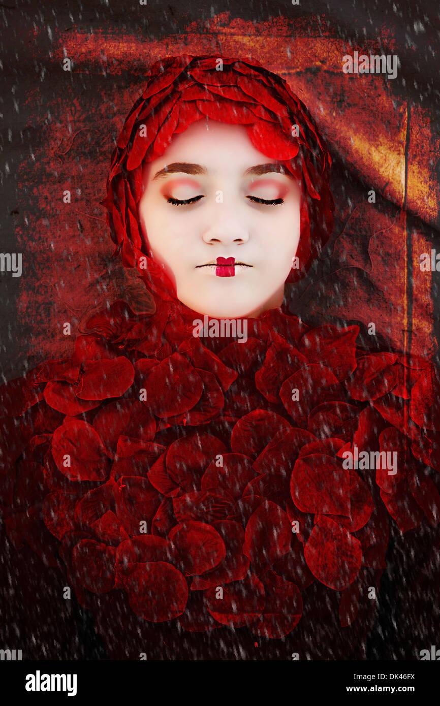 Mädchen in Rot-Rose-Pedale Stockbild