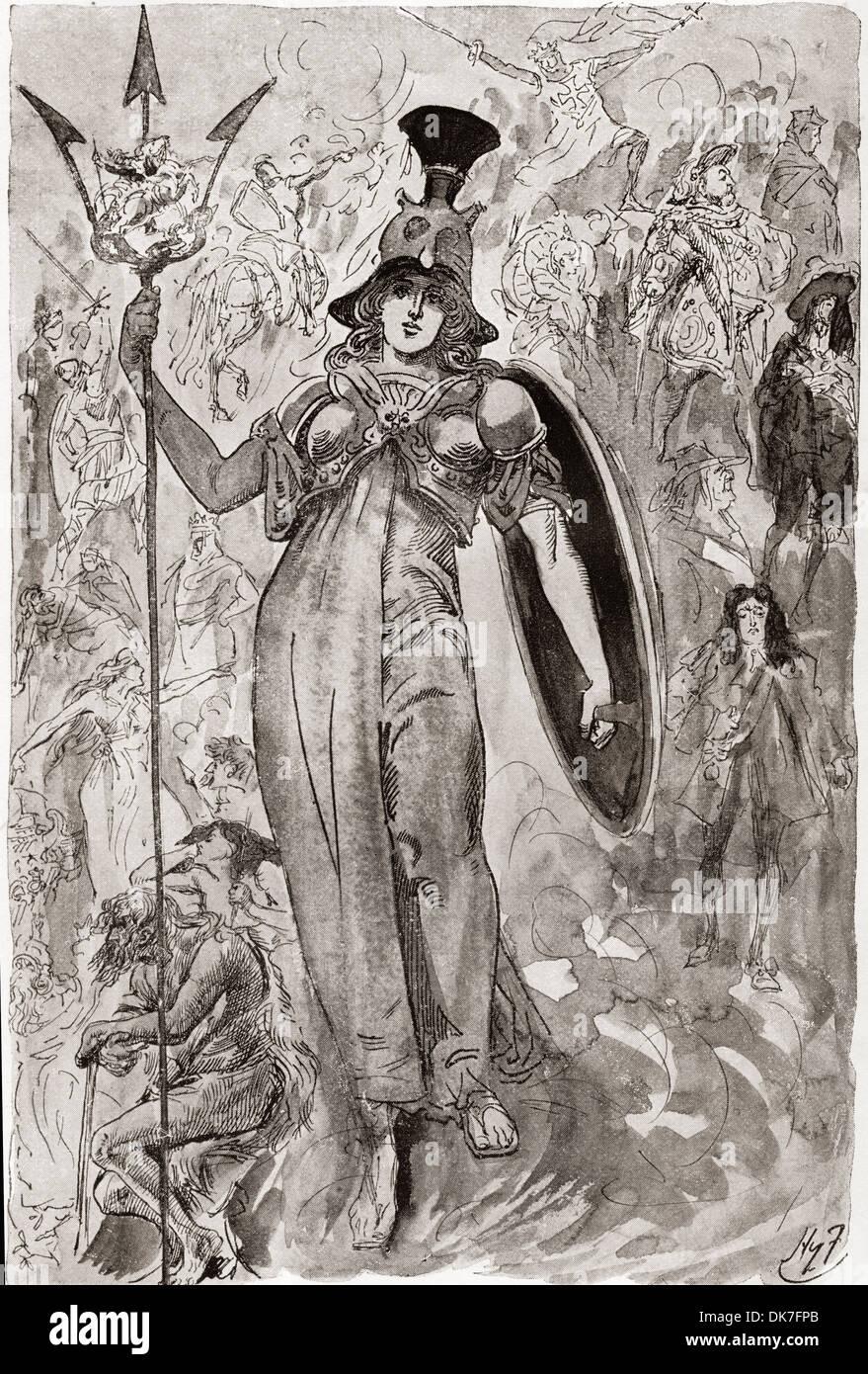 Der Festzug der englischen Geschichte. Frontispiz von Harry Furniss für Charles Dickens Buch A Child Geschichte Stockbild