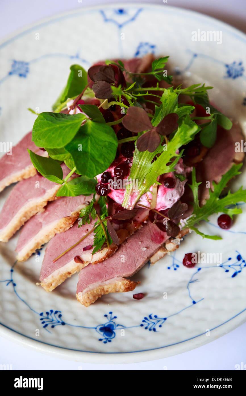 Smorrebrod, eine dänische öffnen Sie Sandwich am Restaurant Schonnemann serviert traditionelle dänische Stockbild