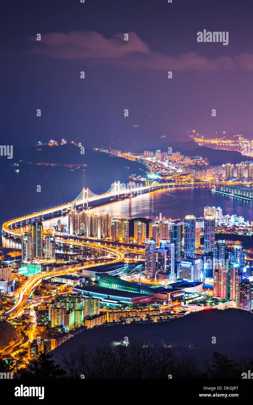 Skyline von Busan, Südkorea. Stockbild