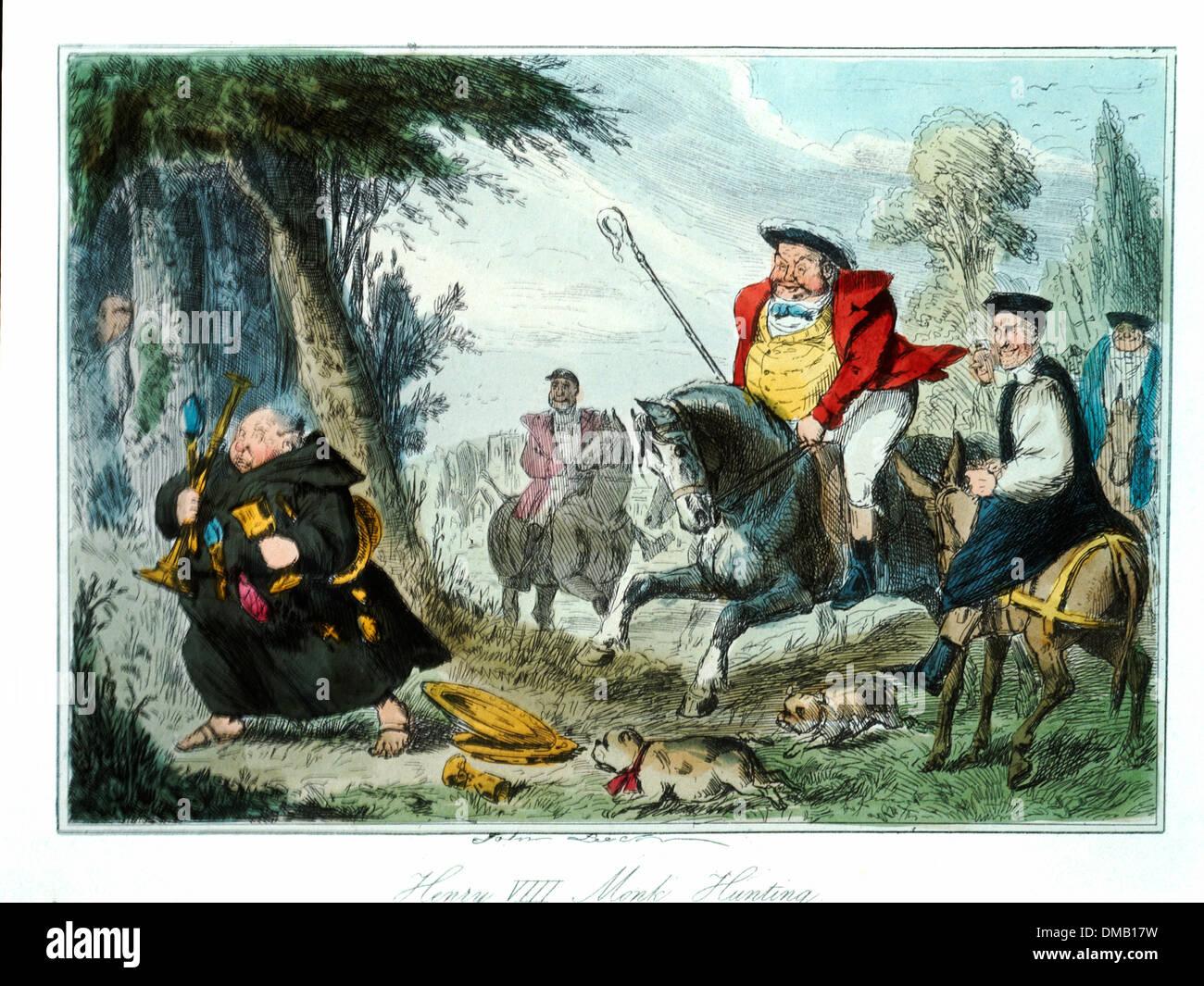 Henry VIII Mönch Jagd, Comic-Geschichte von England, farbige Radierung von John Leech, 1850 Stockbild