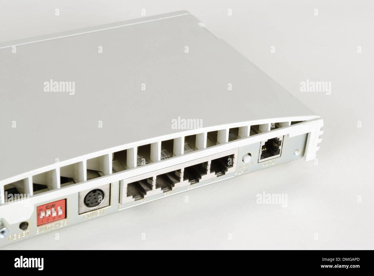 Blick auf die Router-Verbindungen Stockbild