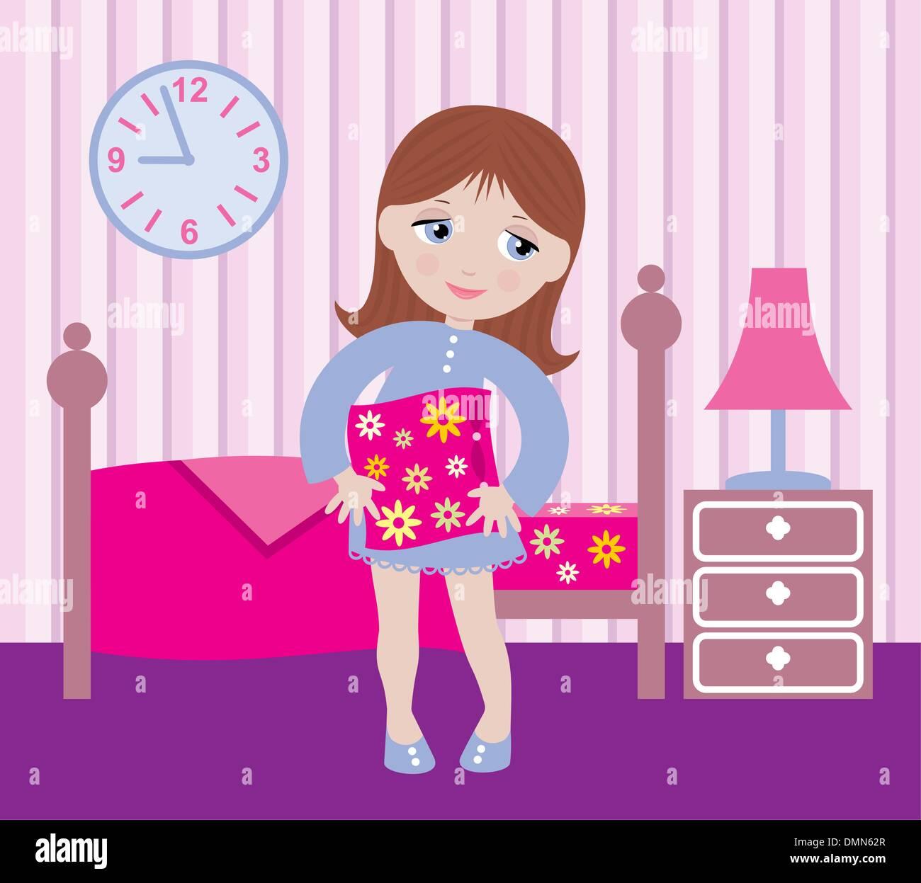 Verträumte Mädchen ins Bett gehen Stockbild