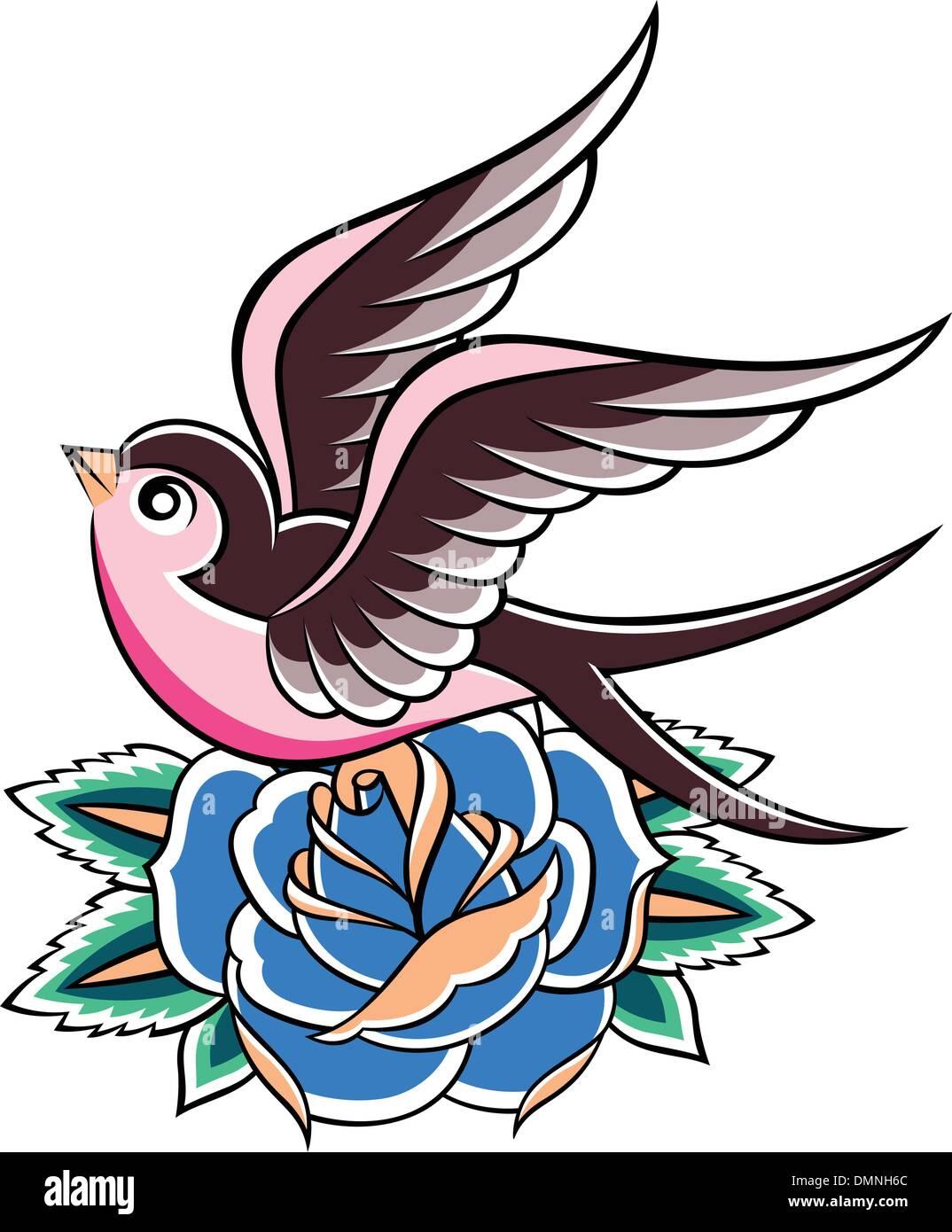 tattoo rose and bird stockfotos tattoo rose and bird bilder alamy. Black Bedroom Furniture Sets. Home Design Ideas