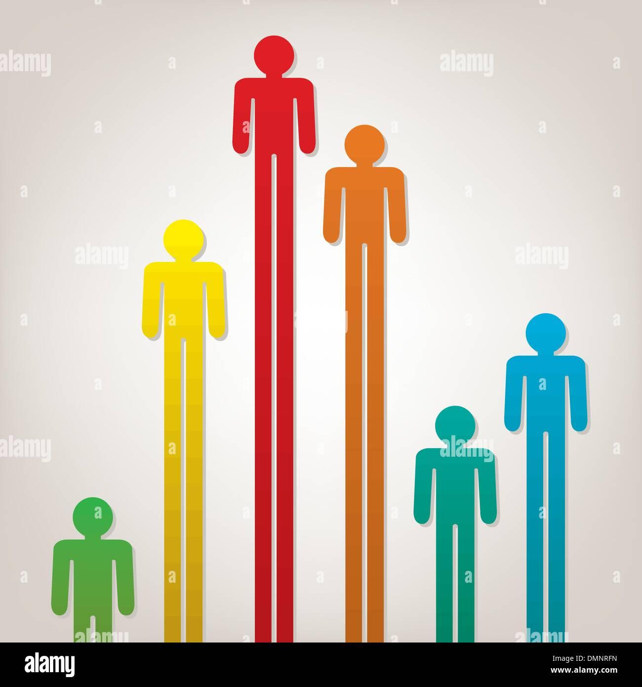 bunte Vektorsymbolen von Menschen Stock Vektor