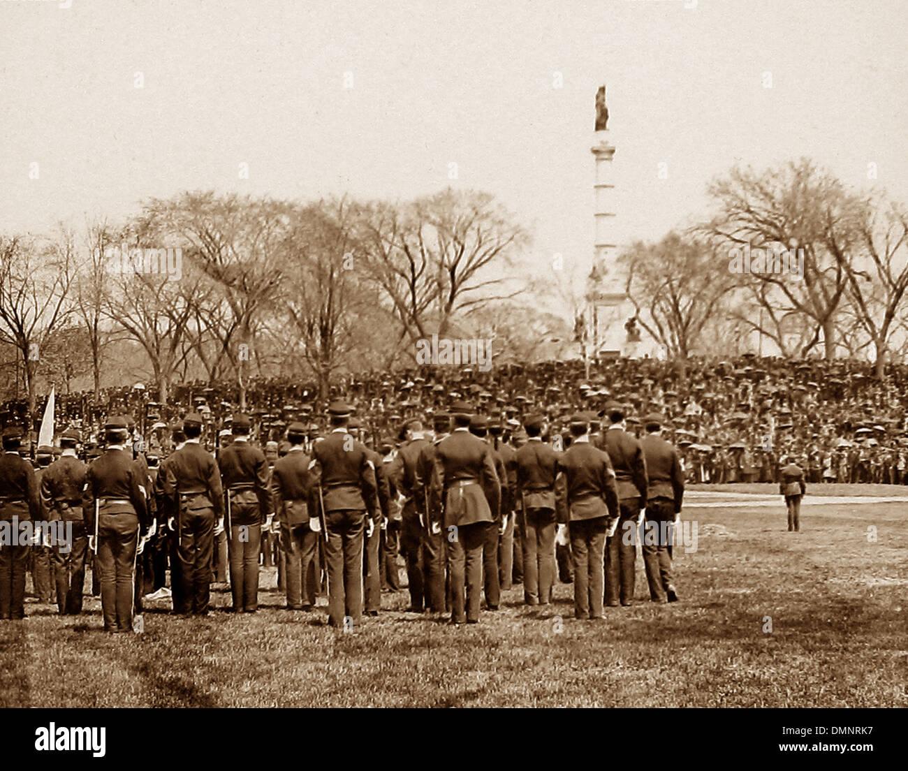 USA Boston Latin School Volunteer Parade vor 1900 Stockbild