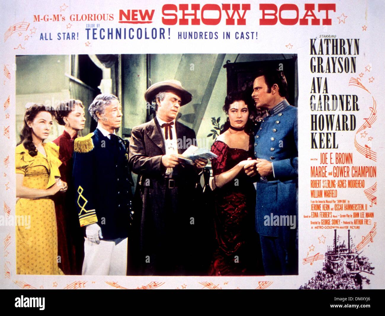 SHOW BOAT Poster für 1951 MGM film Musical mit Kathryn Grayson, Ava Gardner und Howard Keel Stockbild