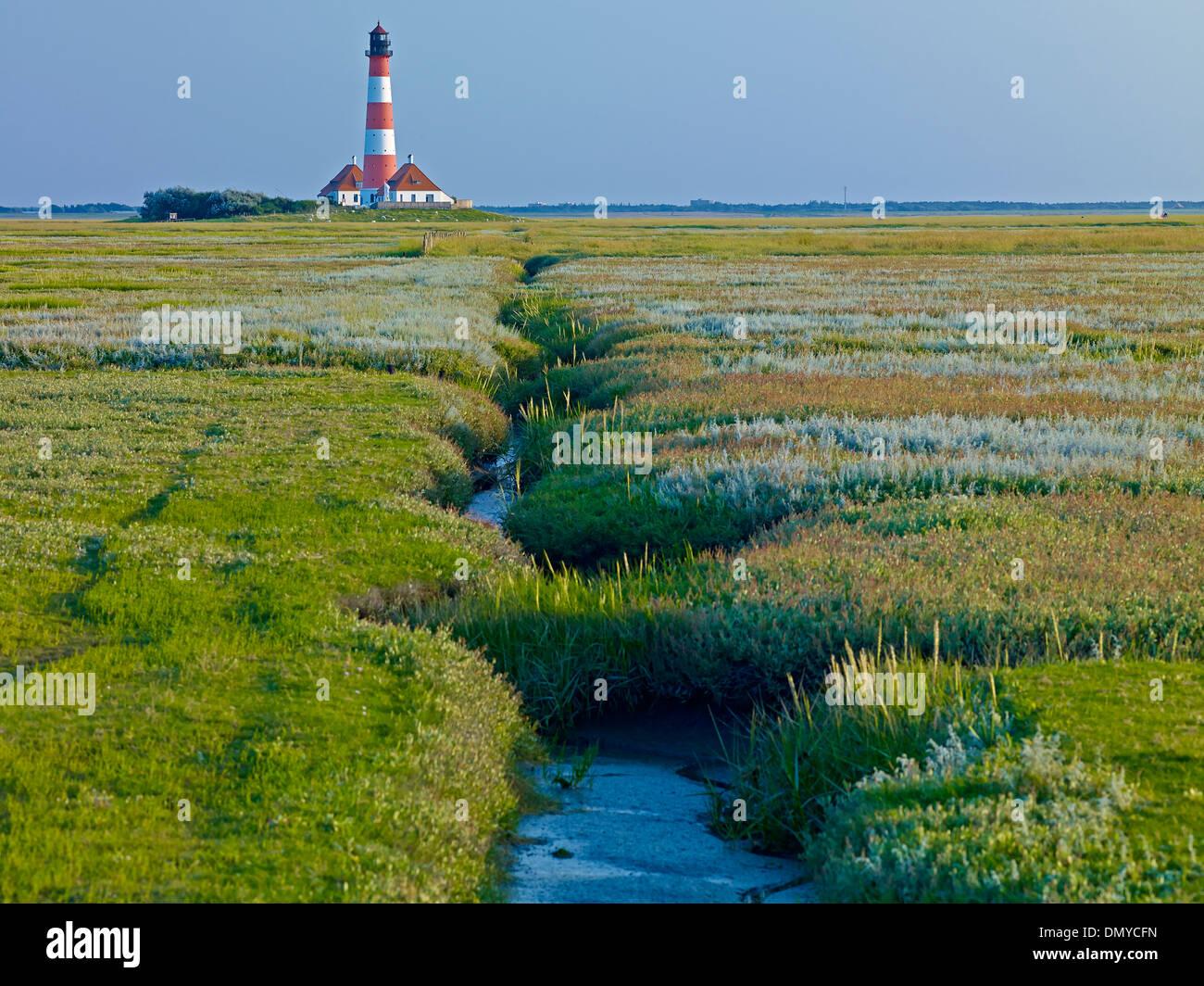 Leuchtturm Westerheversand, Halbinsel Eiderstedt, Nordfriesland, Schleswig-Holstein, Deutschland Stockbild