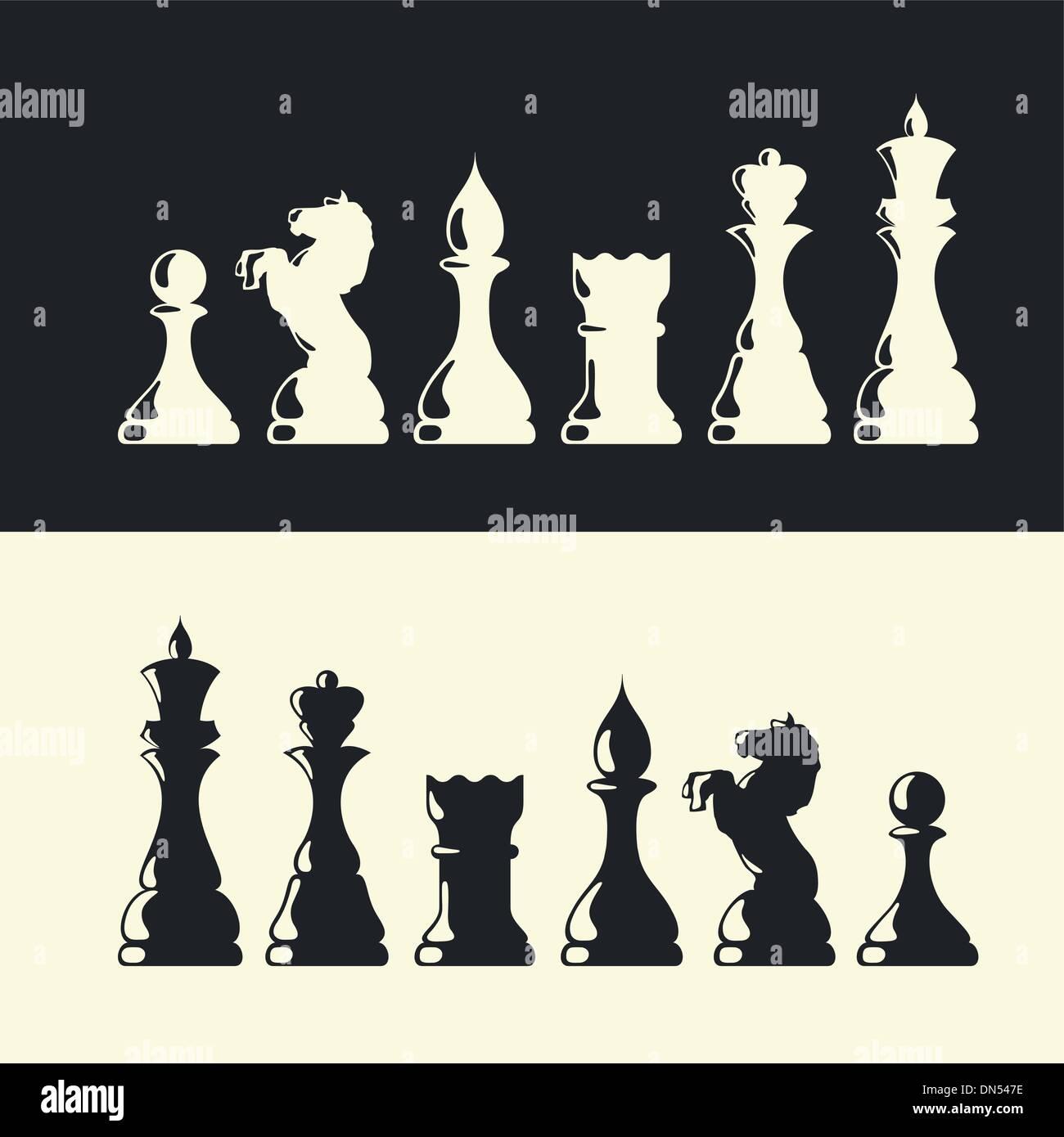 Schach-Stücke-Sammlung. Vektor Stock Vektor