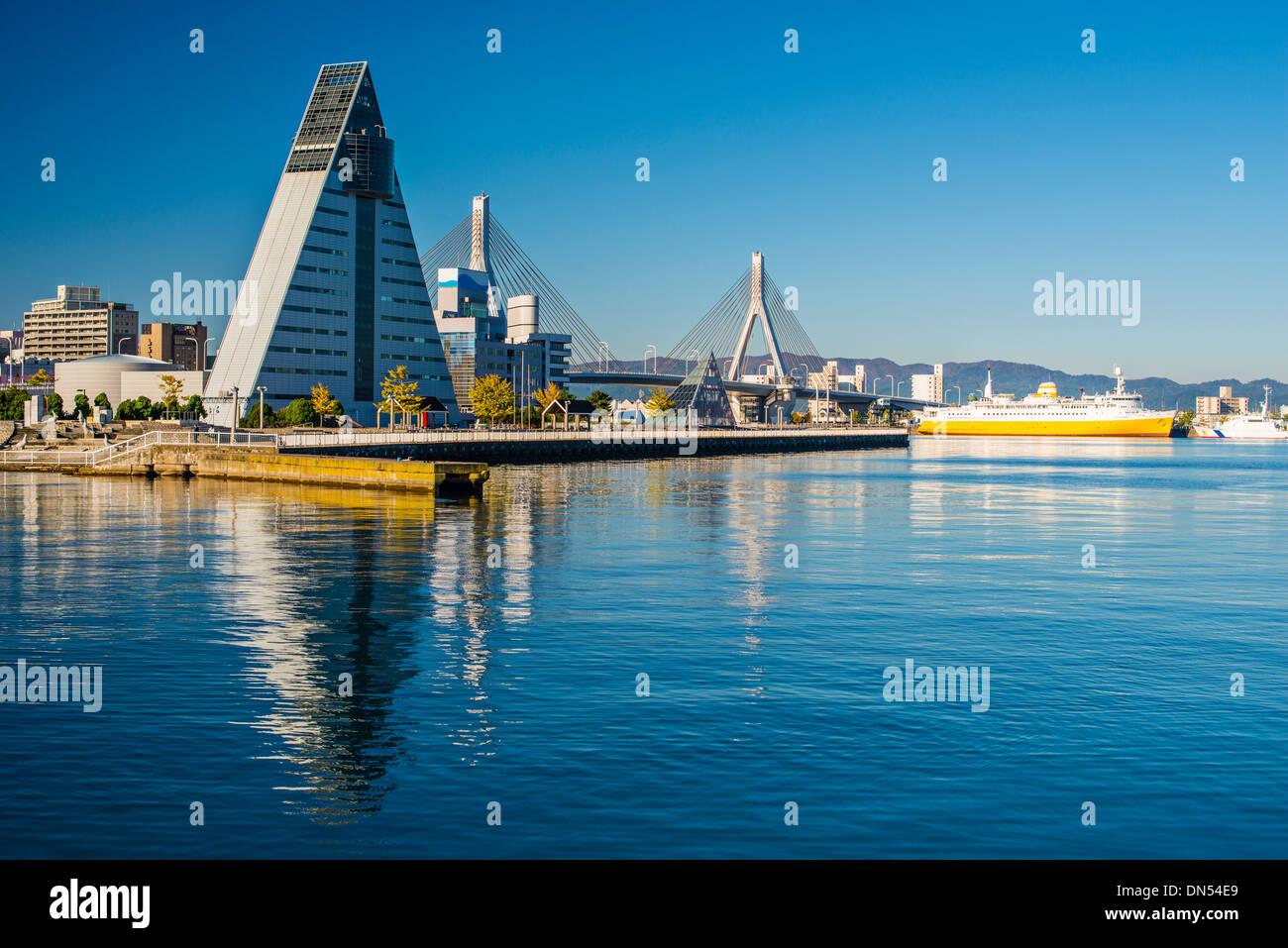 Die Innenstadt von Aomori, Japan. Stockbild