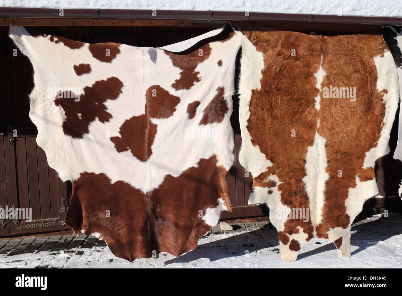 Kuh versteckt für den Verkauf auf dem Markt von Zakopane, Polen. Stockbild
