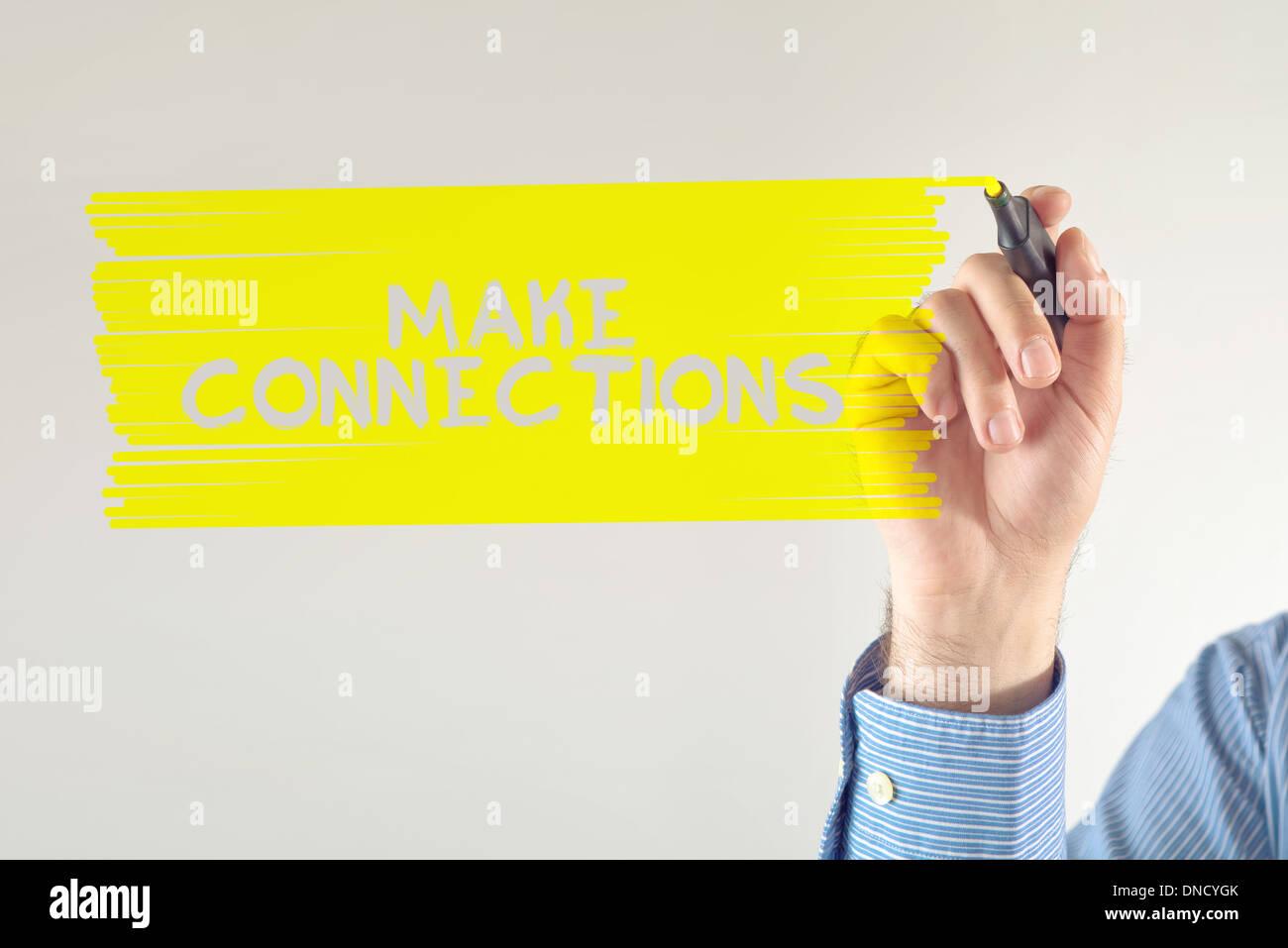 Geschäftsverbindungen, Geschäftsmann schreiben Nachricht mit Filzstift zu machen. Stockbild