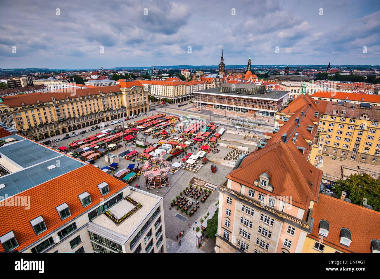 Dresden, Deutschland Stadtbild am Altmart-Platz. Stockbild