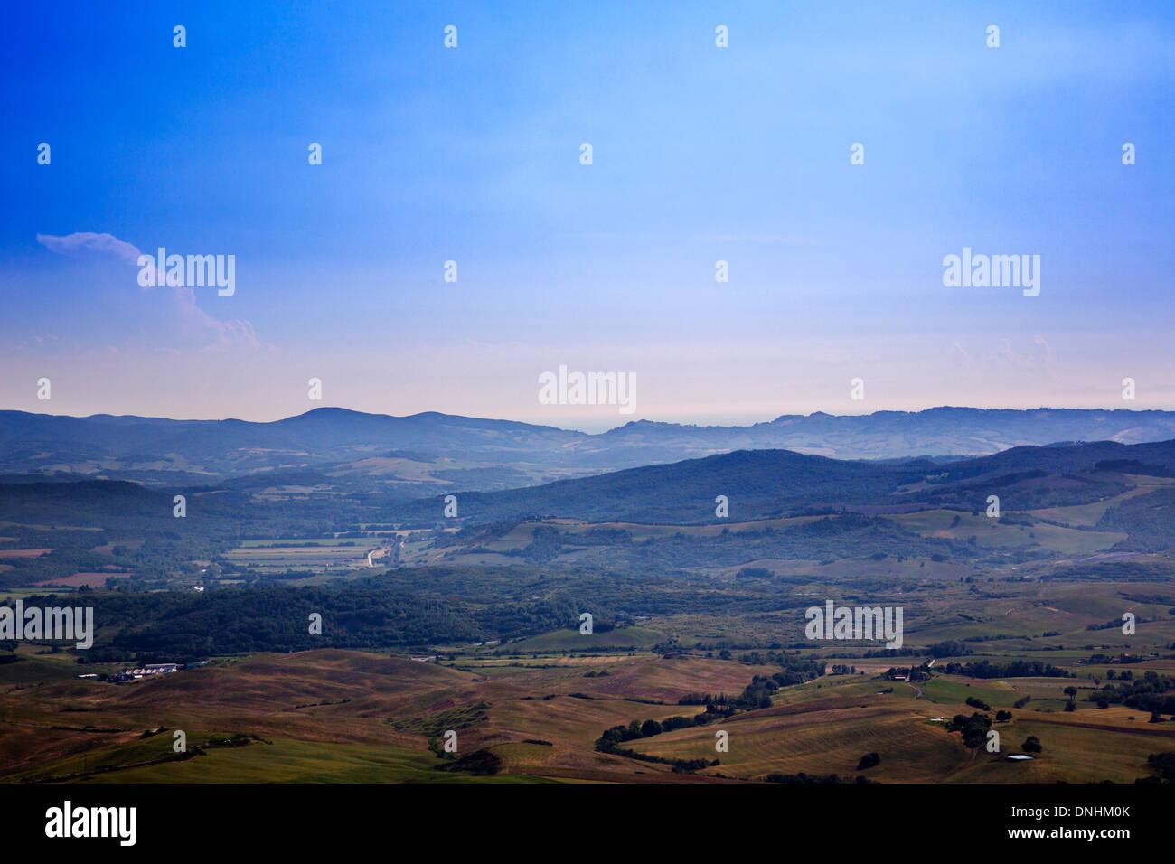 Vogelperspektive Blick auf eine Landschaft, Volterra, Provinz Pisa, Toskana, Italien Stockbild