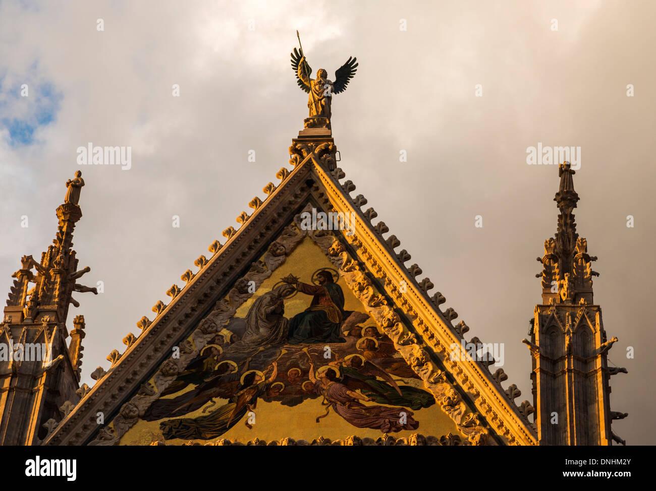 Architektonisches Detail von einer Kathedrale, Dom von Siena, Siena, Provinz Siena, Toskana, Italien Stockbild