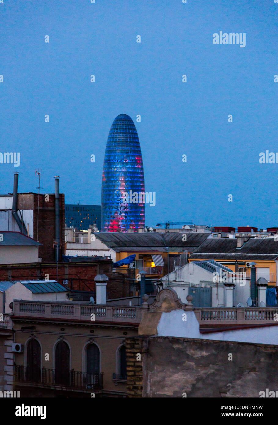 In einer Stadt, Turm, Torre Agbar, Barcelona, Katalonien, Spanien Stockbild