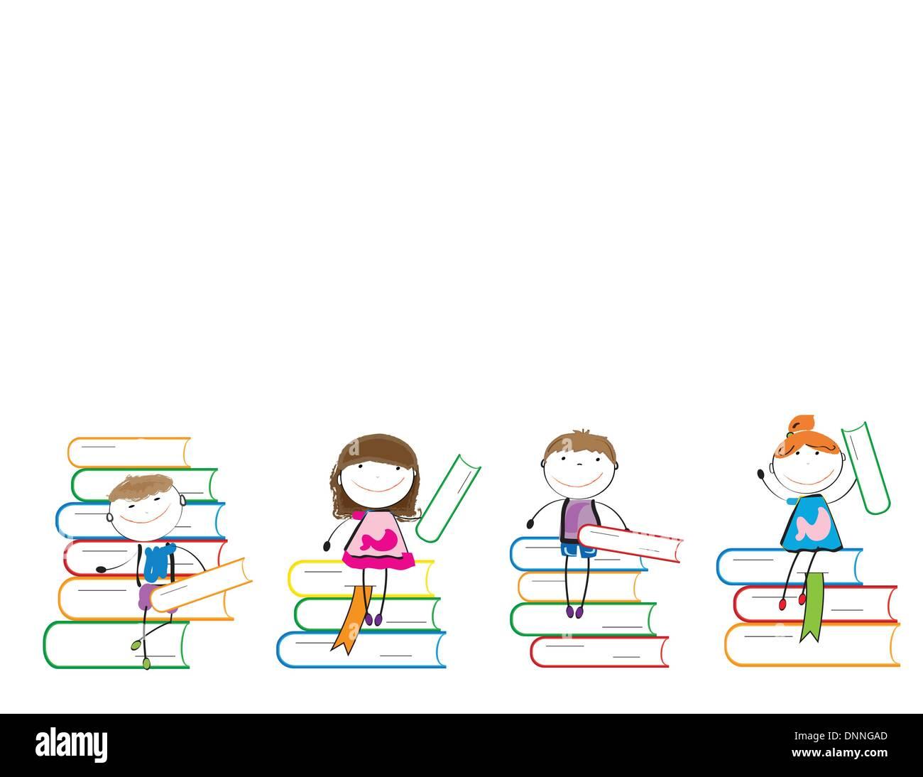 Glückliche bunte Kinder auf viele bunte Bücher Stock Vektor