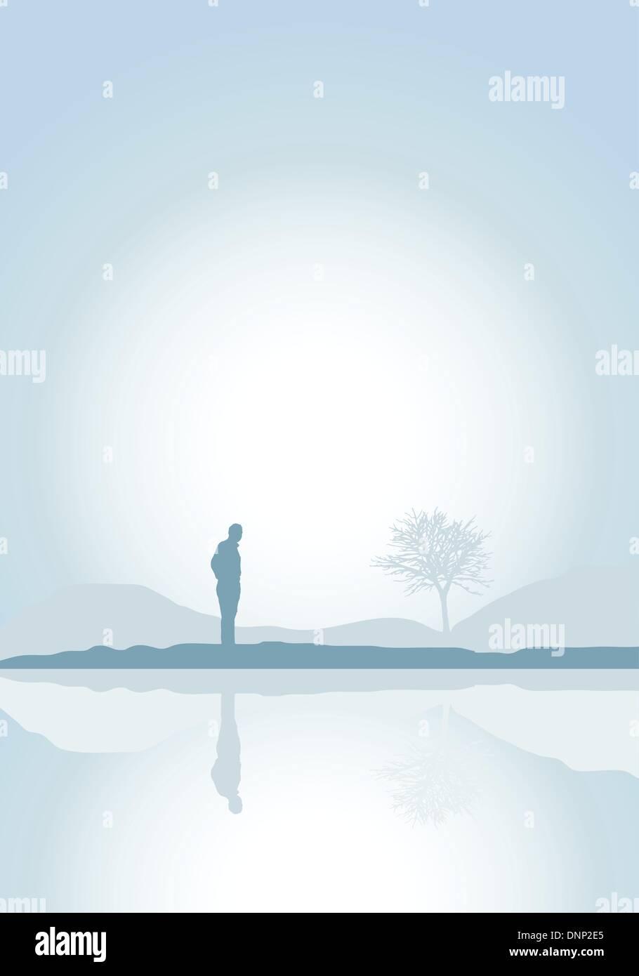 Silhouette eines einsamen Mannes an einem See Stock Vektor