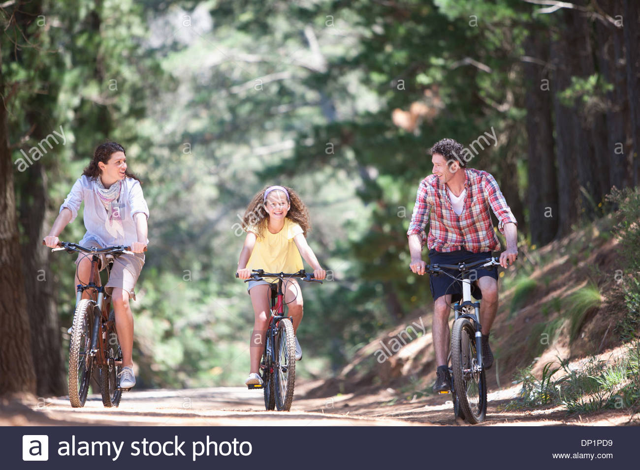 Familie Reiten Fahrräder in Wäldern Stockbild