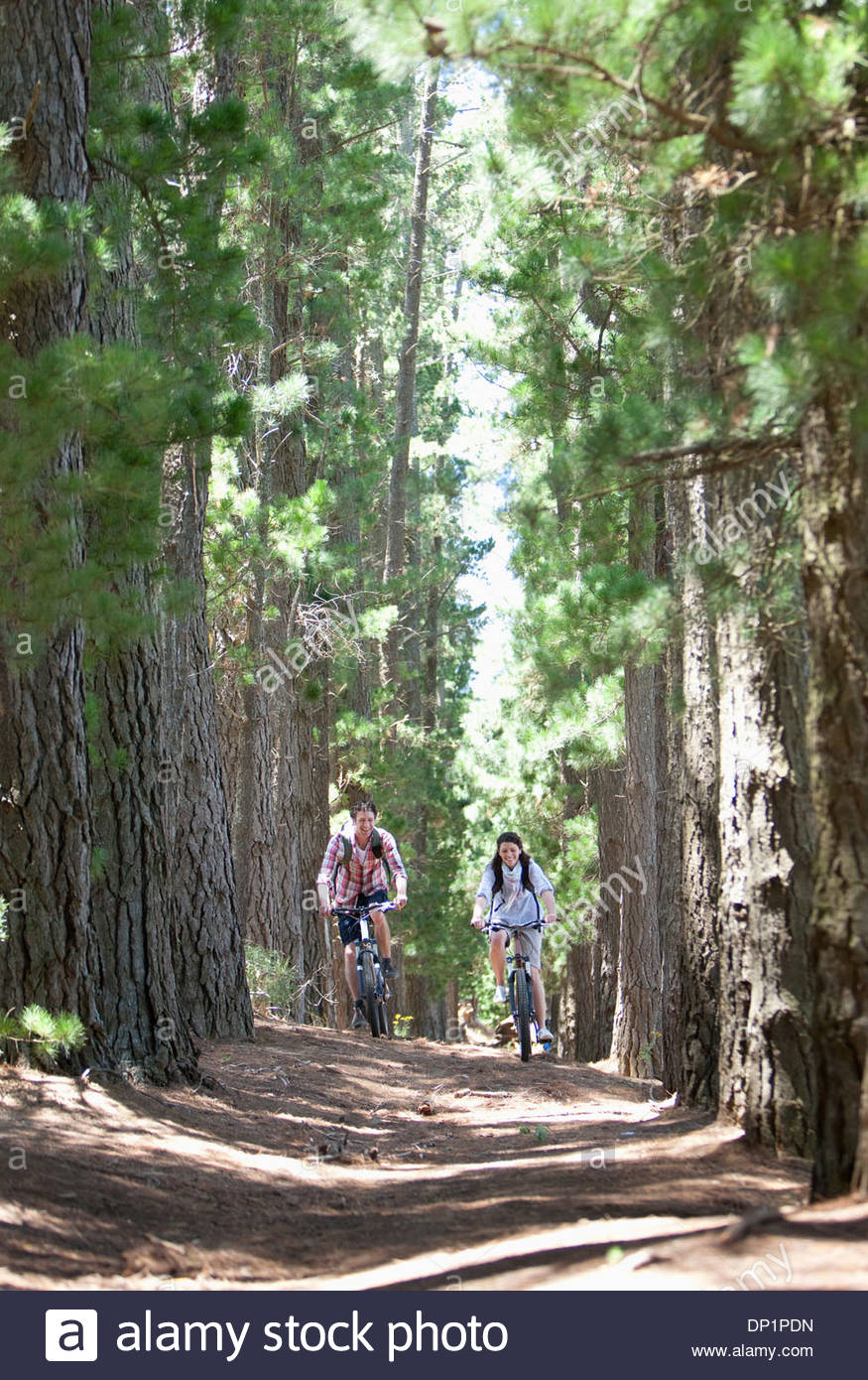Paar Reiten Fahrräder in Wäldern Stockbild