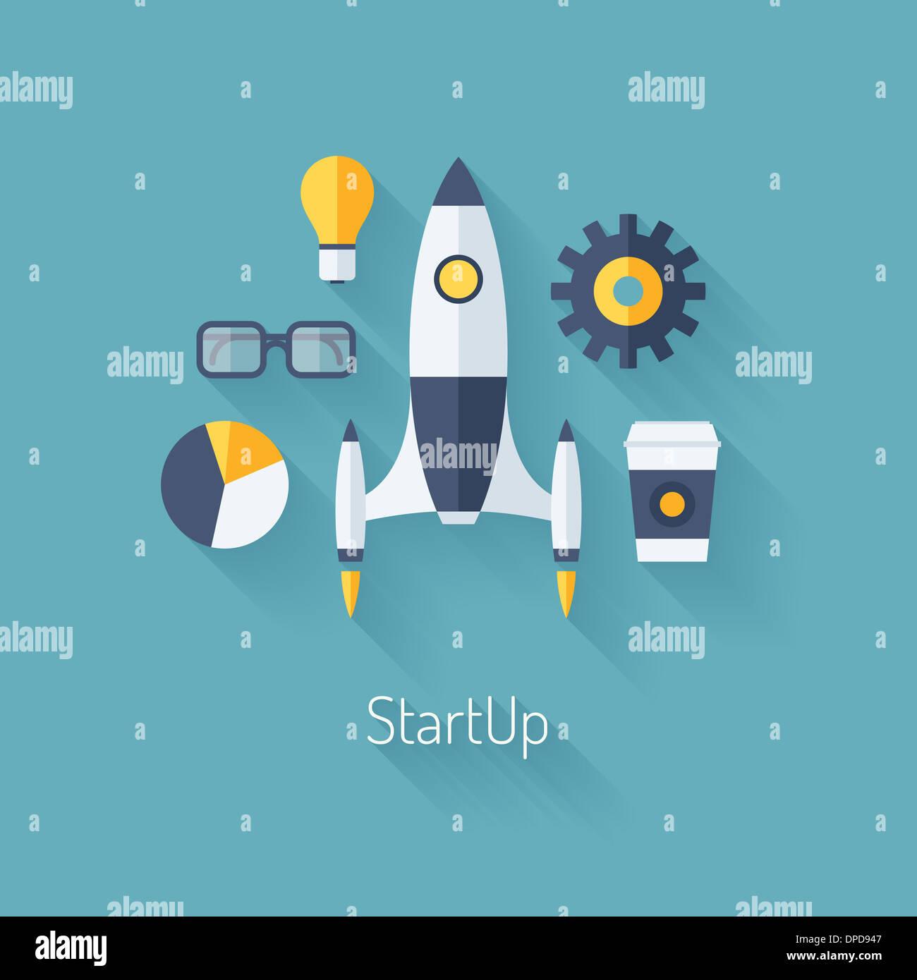 Flaches Design moderne Illustration Konzept neue Business Start Projektentwicklung und Einführung eines neuen Stockbild