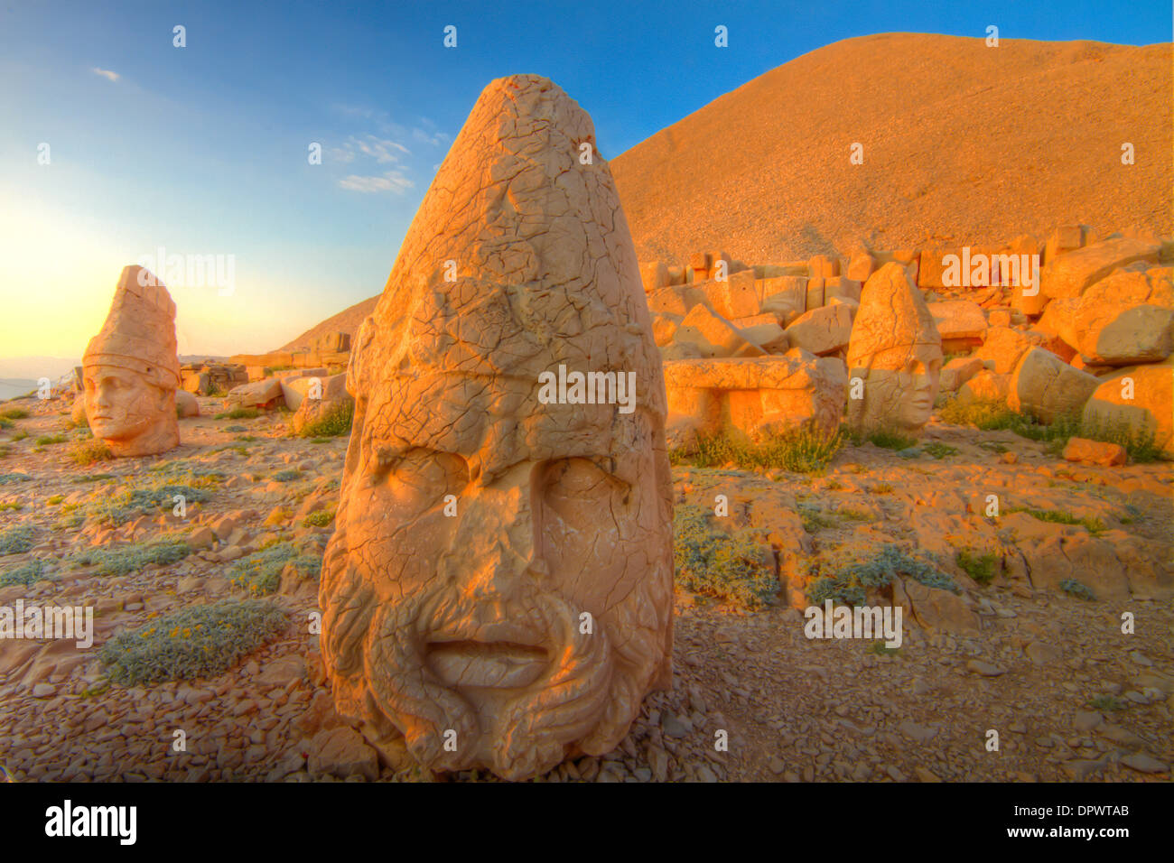 Riesige Zeus Skulptur Mount Nemrut Nationalpark Türkei antike Überreste der 2000 Jahre alten Kultur der Stockbild