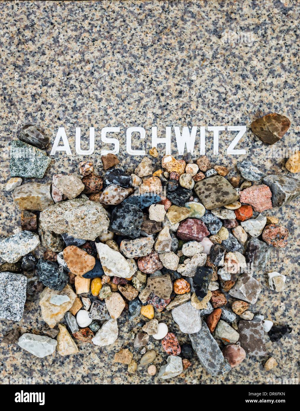 Auschwitz-Gedenkstätte in Berlin, Deutschland am Weissensee Cemetery. Stockbild