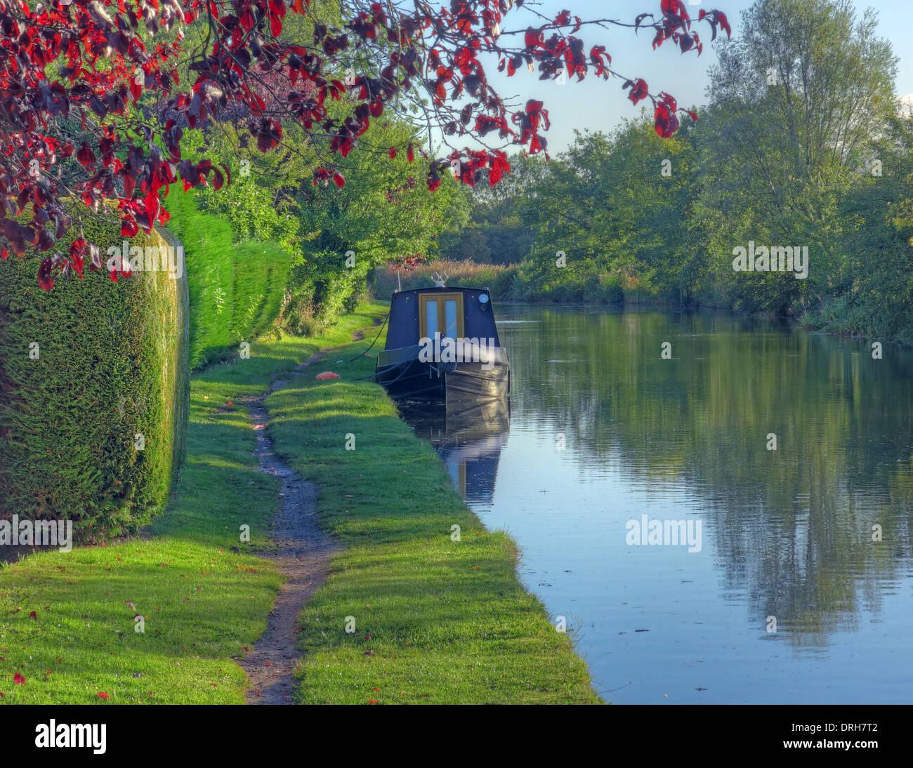 Laden Sie dieses Alamy Stockfoto Grappenhall Frühling Bridgewater Canalside Szene, Cheshire, England, UK - DRH7T2