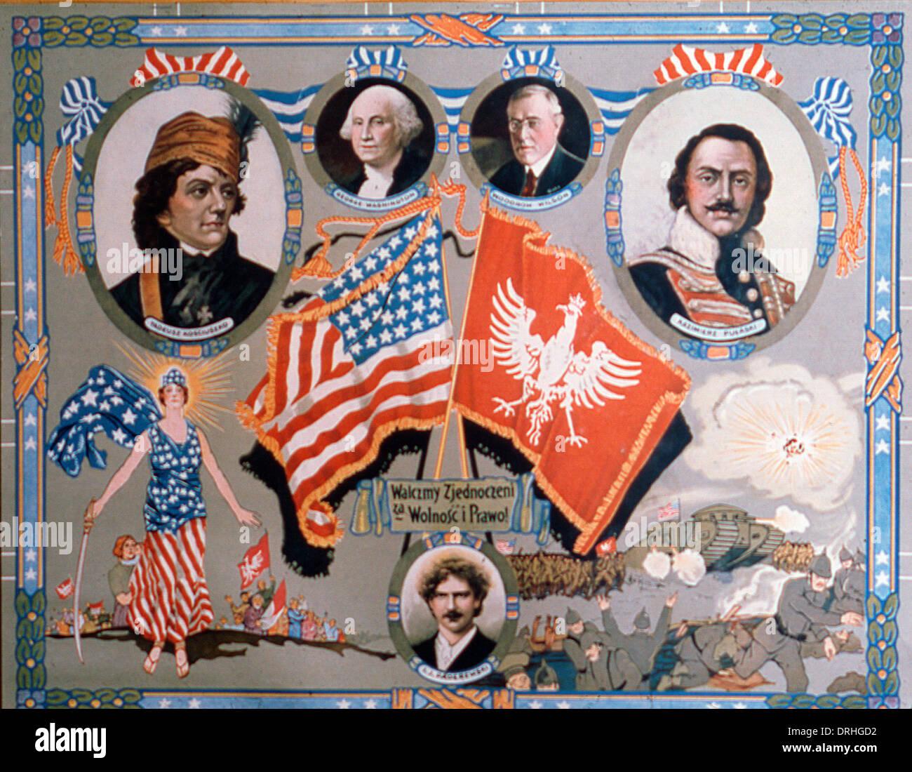 Polnisch-amerikanischen Plakat, geeint im Kampf, WW1 Stockbild