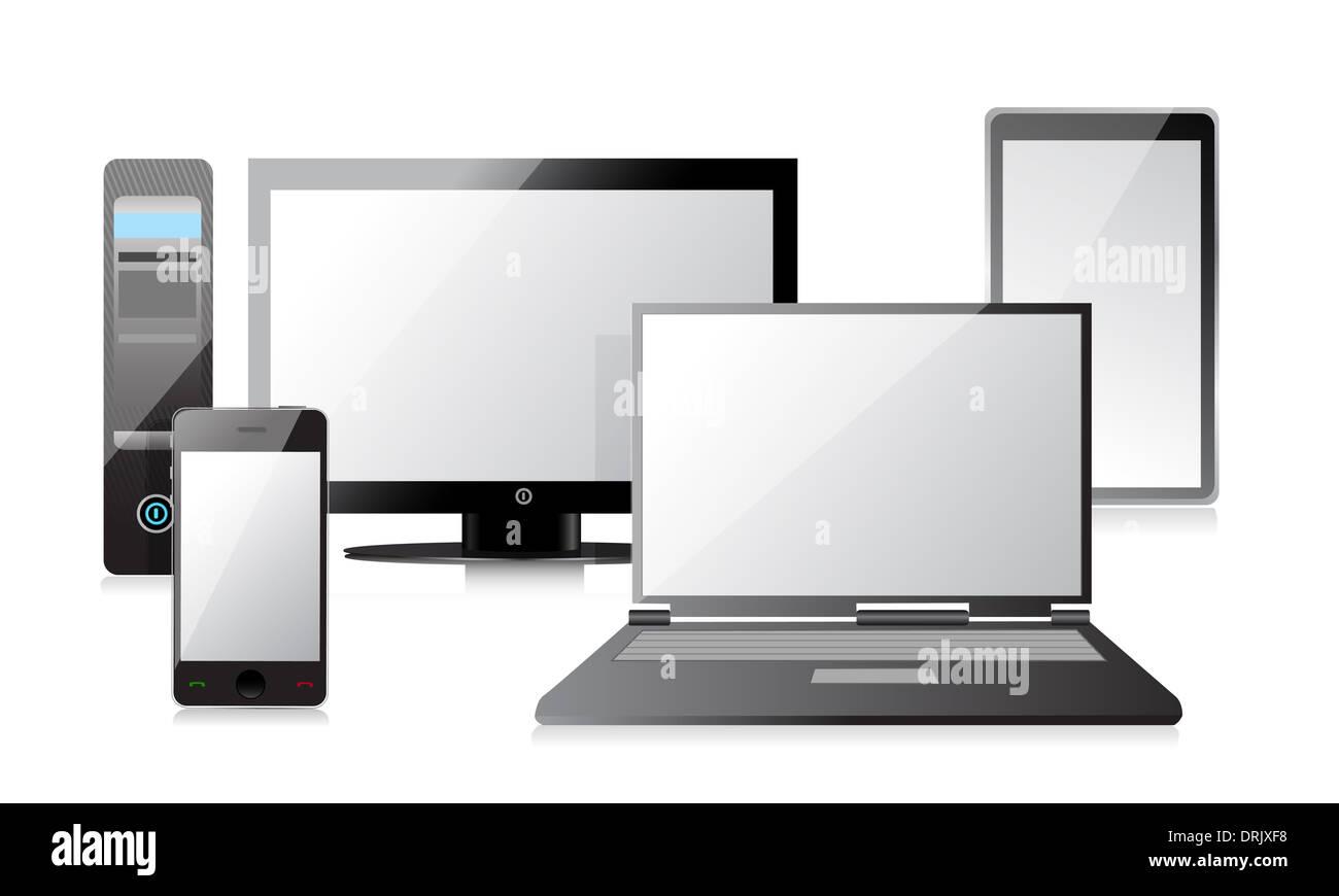 computer laptop tablet und smartphone illustration. Black Bedroom Furniture Sets. Home Design Ideas