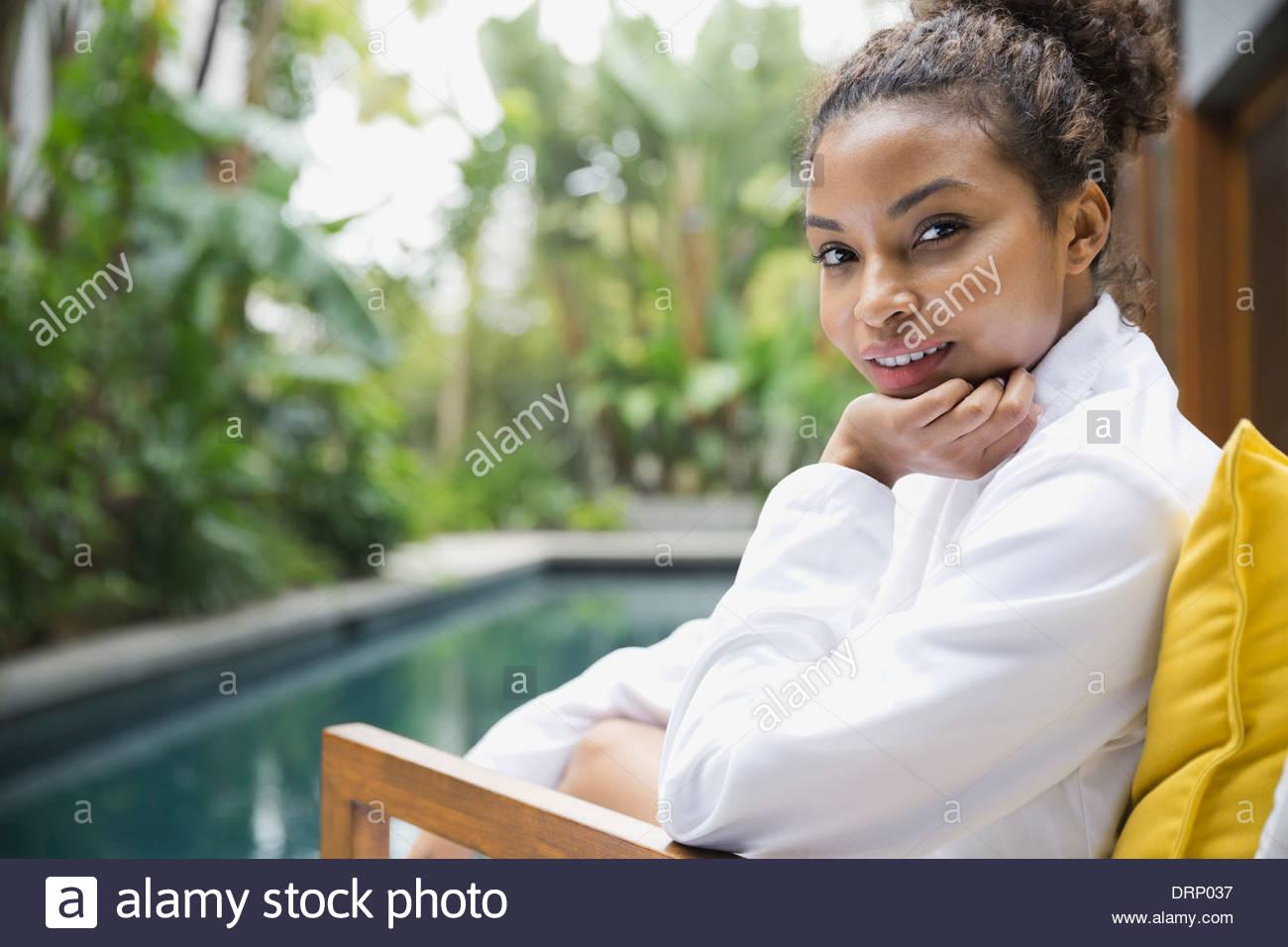 Porträt der Frau im DaySpa Stockbild