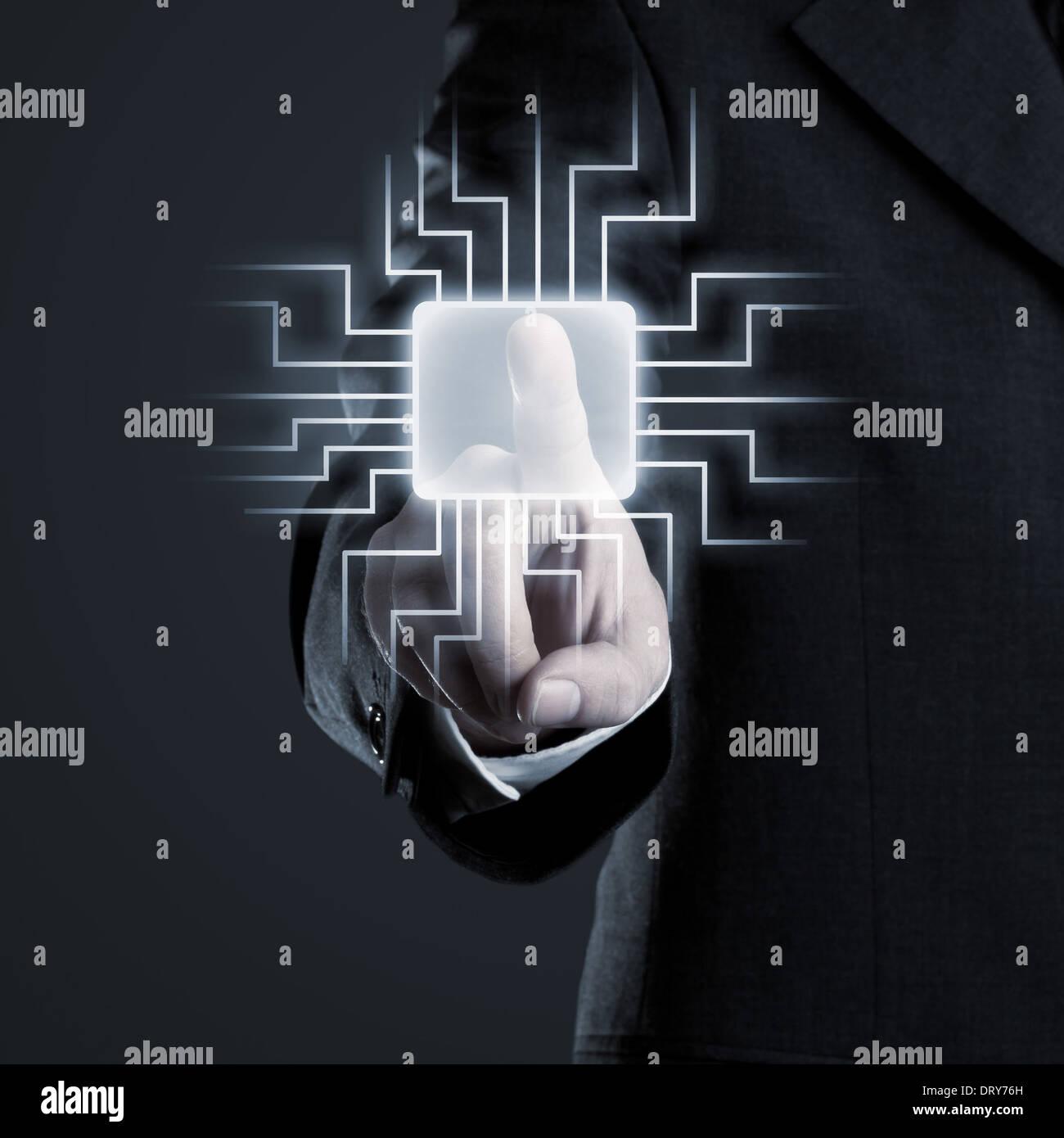 Unternehmer-Netzwerk auf futuristische Touchscreen navigieren Stockbild