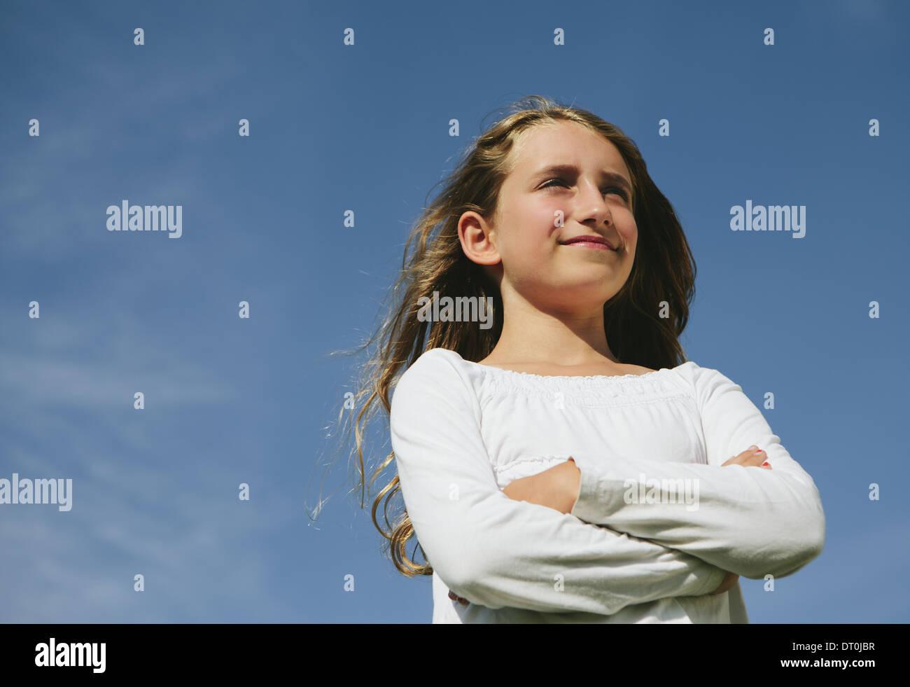 Seattle Washington USA zuversichtlich und glücklich neunjähriges Mädchen im freien Stockbild