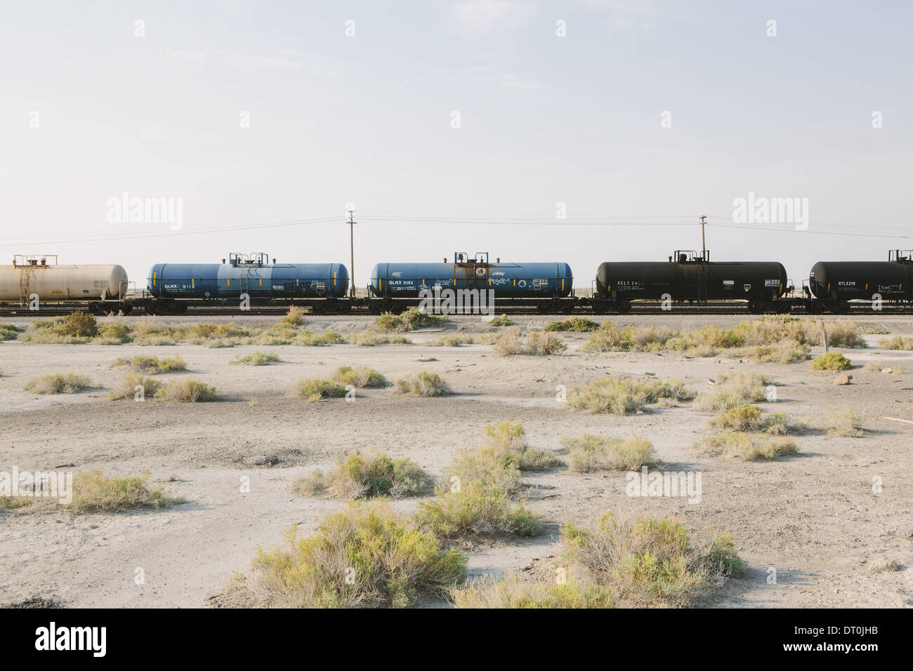 Utah USA Güterzug Zug verfolgen laufen durch die Wüste Stockbild