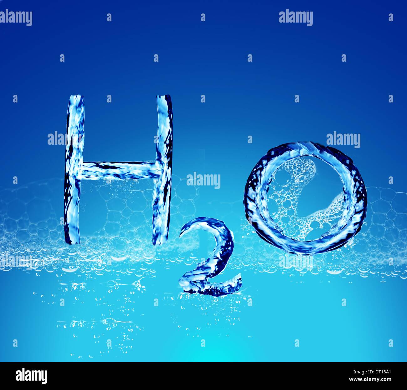 Wasser mit H2O Form Stockbild