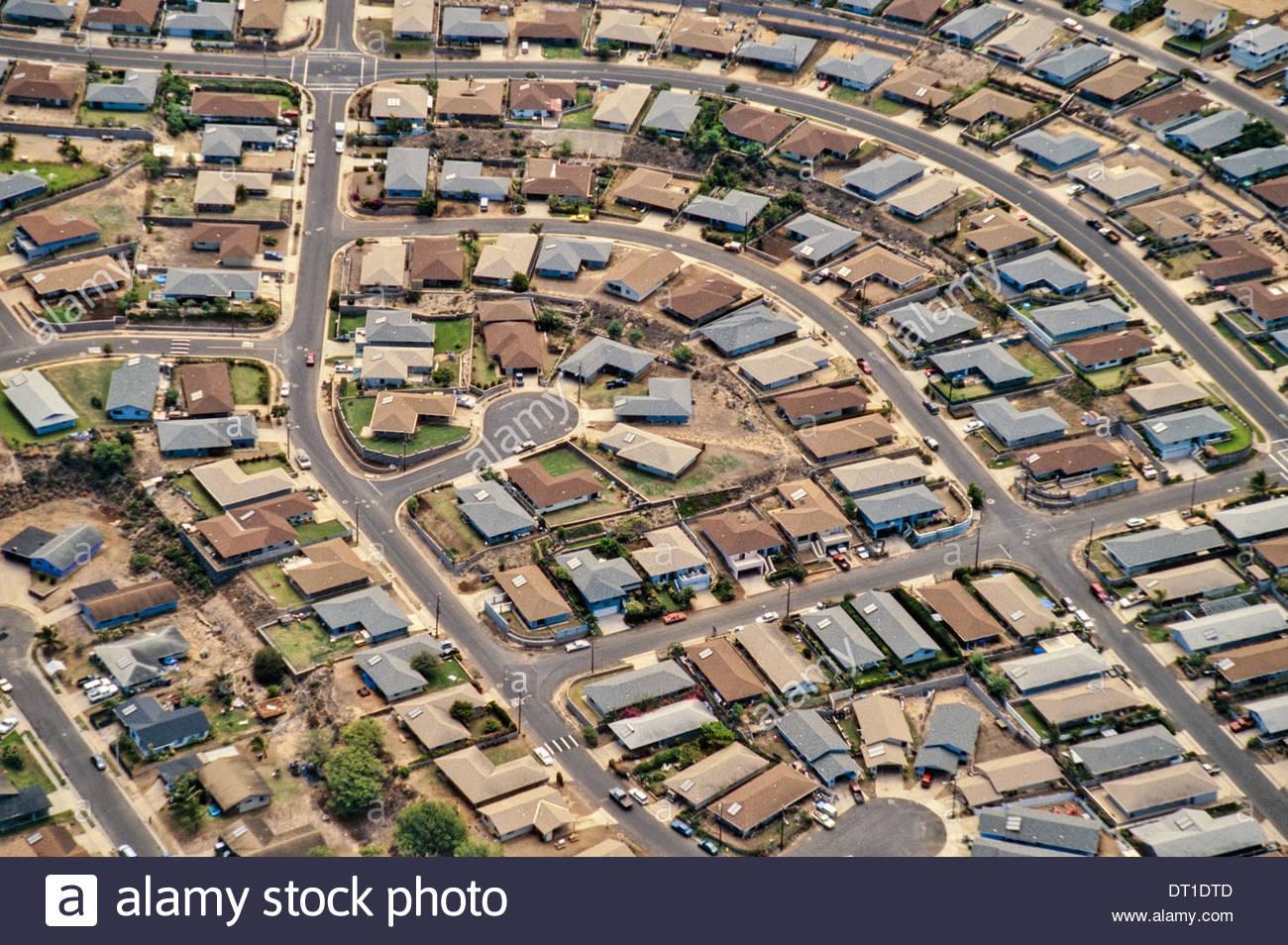 Maui Hawaii vorstädtischen Entwicklung Luftbild auf Maui Hawaii Stockbild
