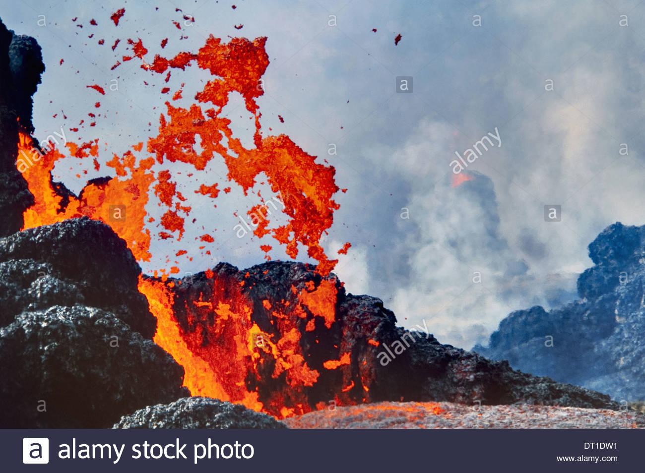 Hawaii Volcanoes National Park Hawaii durchbrechenden Lava Hawai?i-Volcanoes-Nationalpark Stockbild