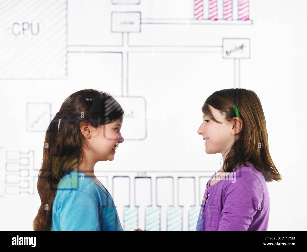 Zwei Kinder einander gegenüber, hinter einer Zeichnung einer Computer-Motherboard-Schaltung auf sehen durch Stockbild