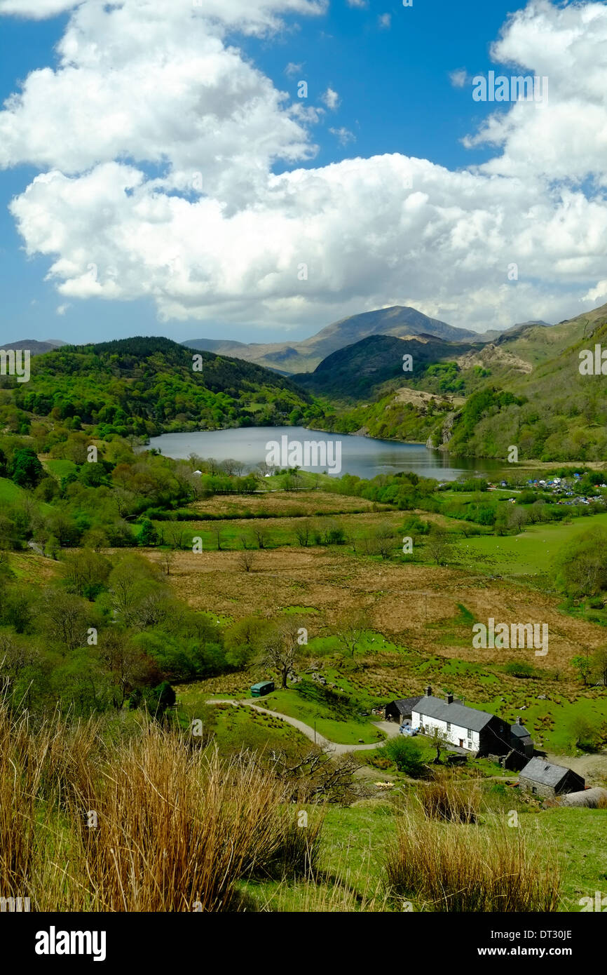 Blick über Nant Gwynant, Snowdonia-Nationalpark, Nordwales Stockbild