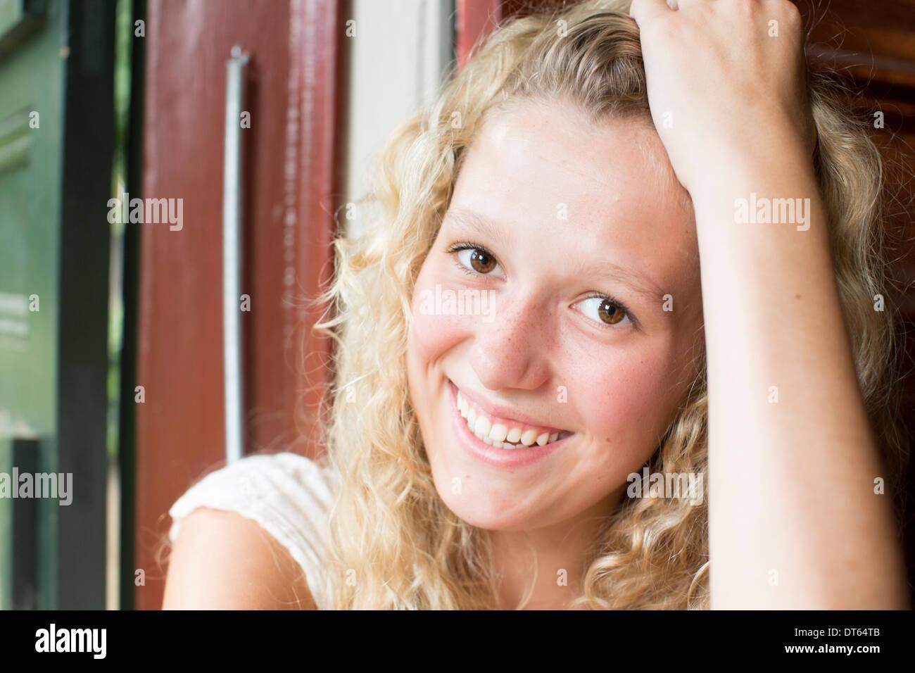 Porträt von blonde teen Stockbild