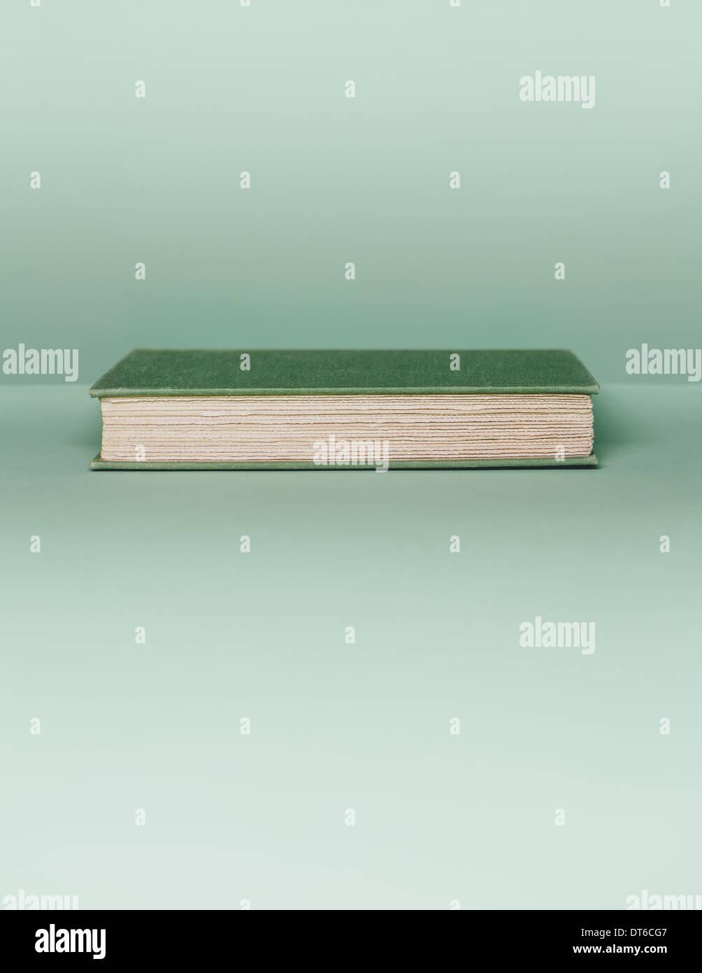 Ein Hardcover-Buch mit einem grünen Deckel und Weißbuch Seitenränder, liegend auf einem blassen Grün Stockbild