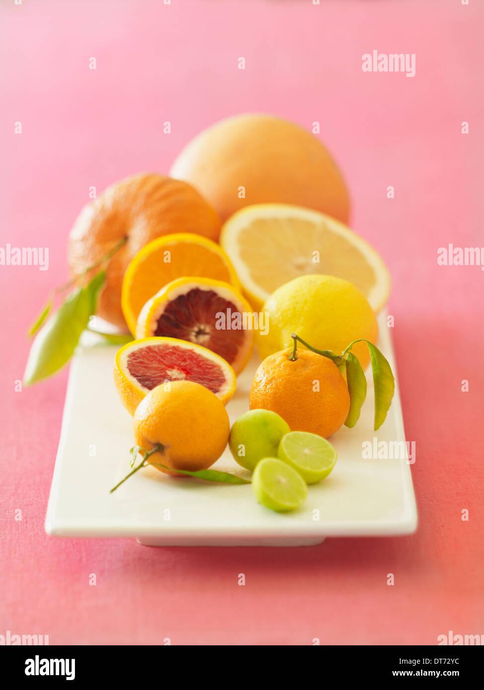 Eine weiße Platte mit Orangen, Blutorangen, Grapefruit, Zitronen und Limetten auf rosa Stoff Hintergrund. Stockbild