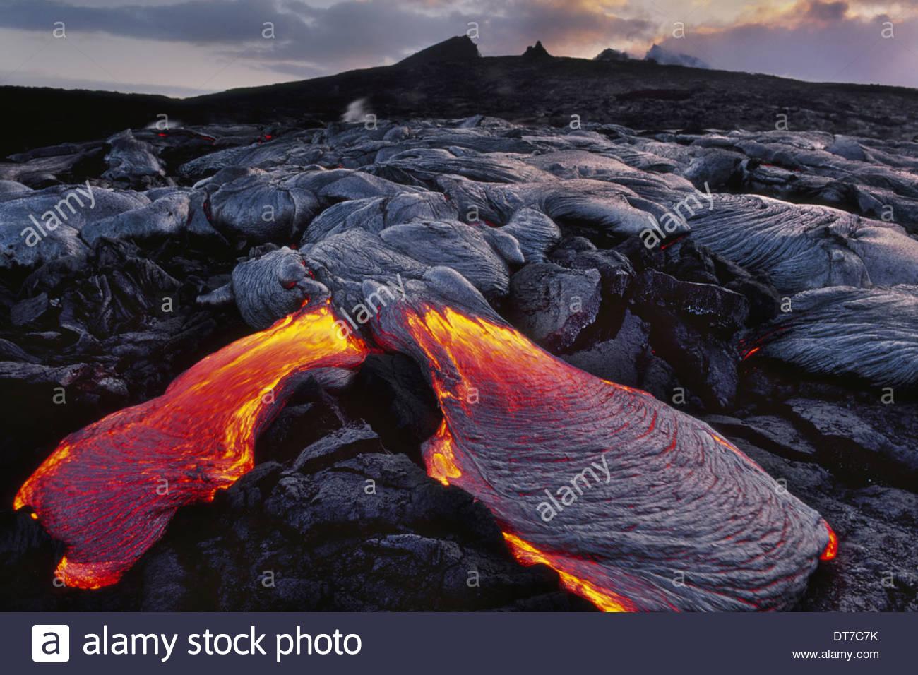 Fließende Lava Hawaii Hawaii Volcanoes National Park Hawaii Hawaii Volcanoes National Park Stockbild