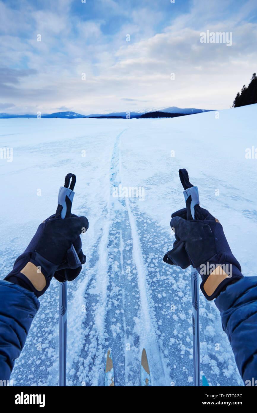 Männlichen Arme halten Skipoles in weiten Landschaft, Colter Bay, Wyoming, USA Stockbild