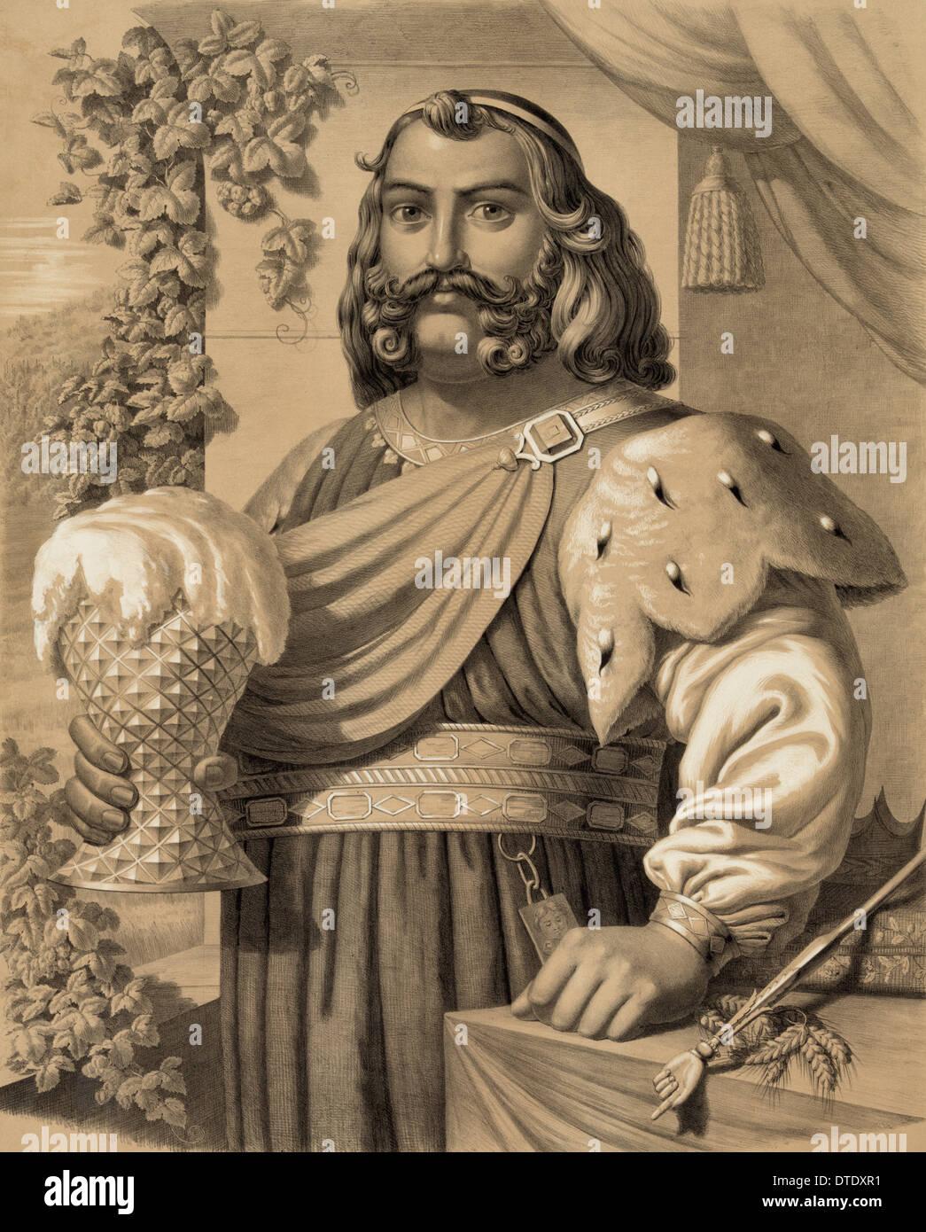 Gambrinus ist ein Held der legendären europäischen Kultur als Symbol von Bier, brauen, Heiterkeit und Stockbild