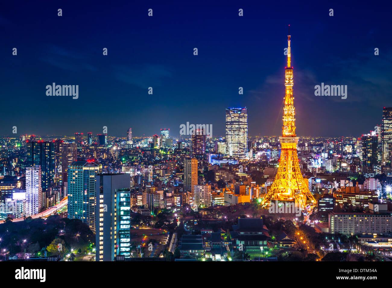 Tokyo, Japan Stadtbild Antenne Stadtbild Ansicht bei Nacht. Stockbild