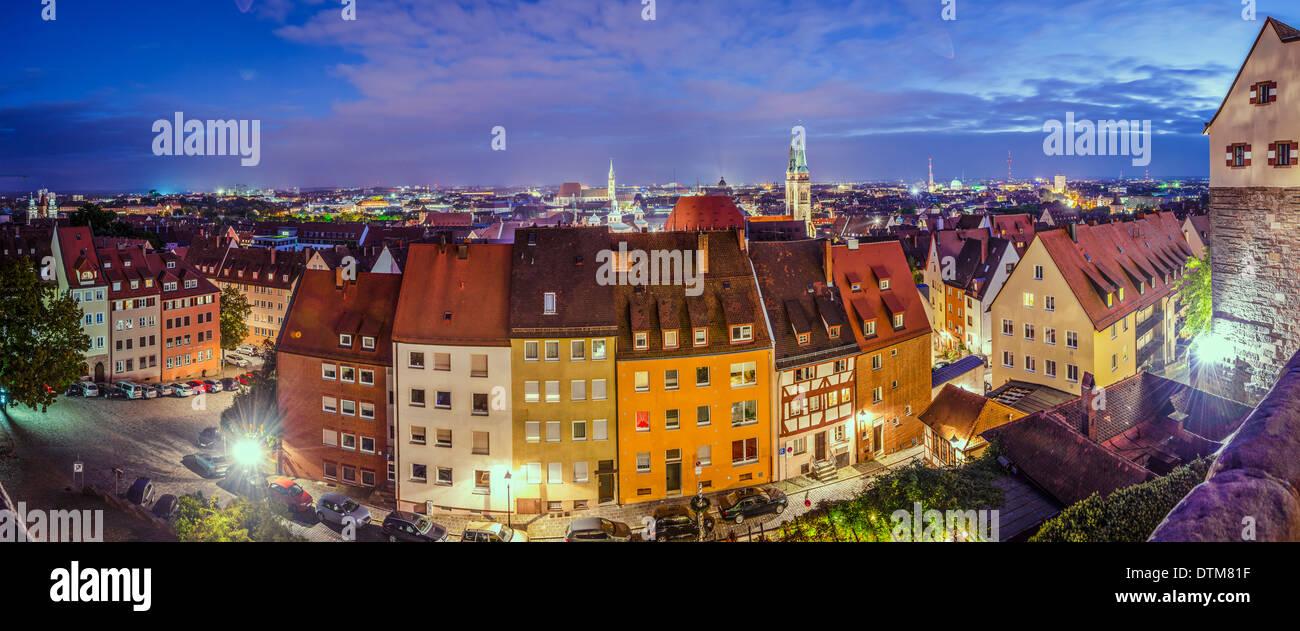 Nürnberg alte Stadtpanorama. Stockbild
