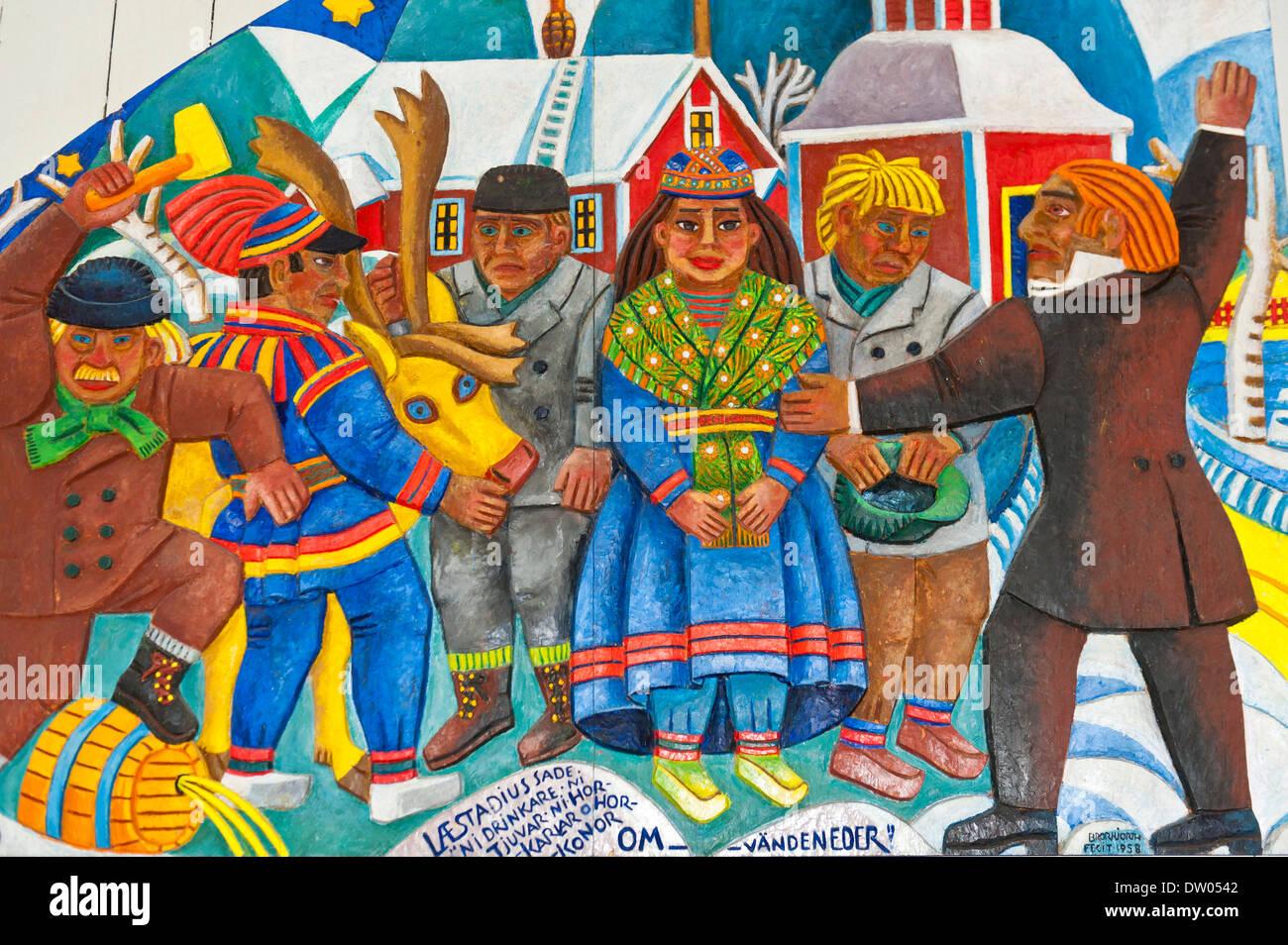 Sami Kunst, das tägliche Leben der Sami Leute, bunte Holzschnitzerei, Sami-Christian Altarbild entworfen von Stockbild