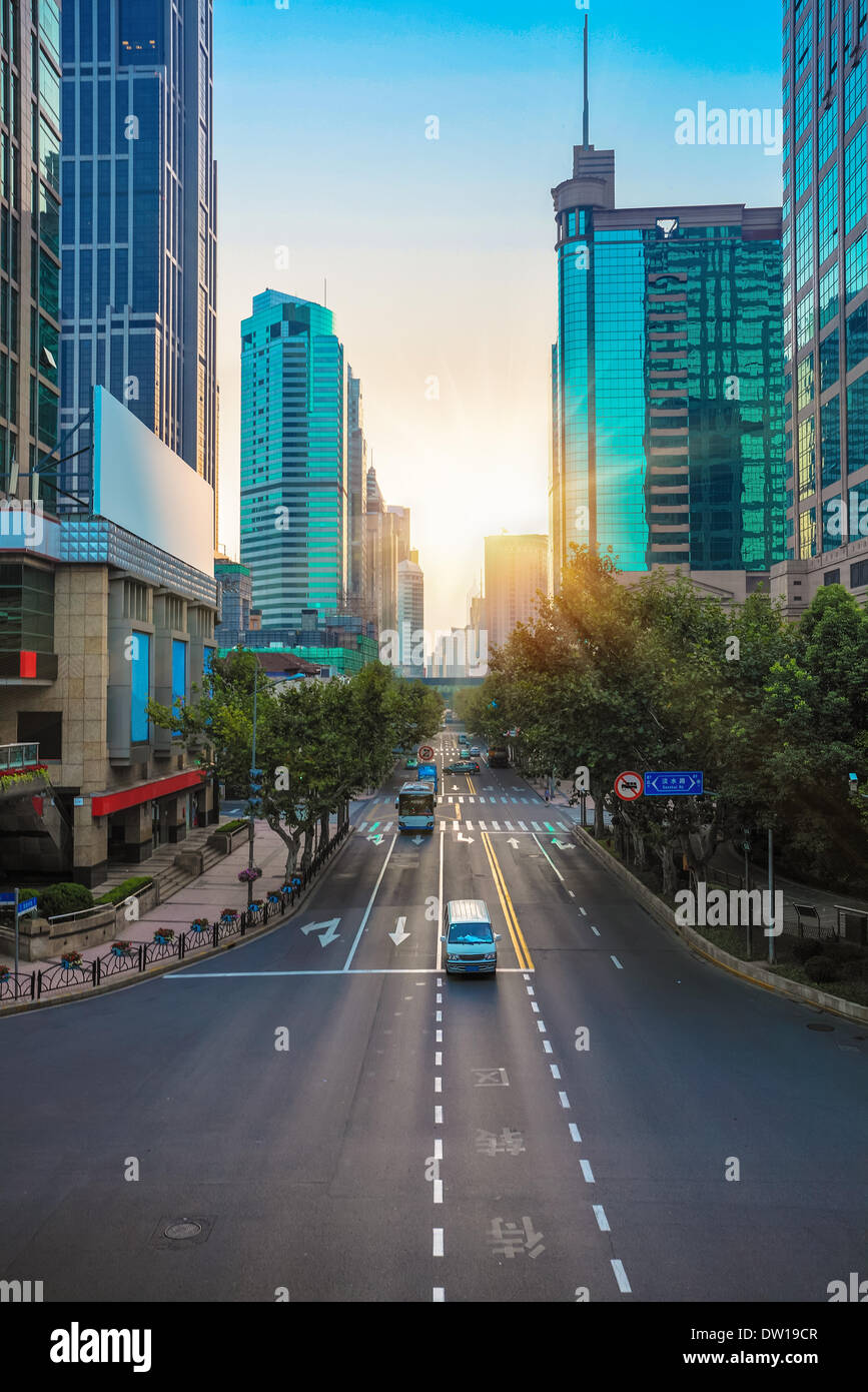 modernen urbanen Straßenbild Morgen Stockbild