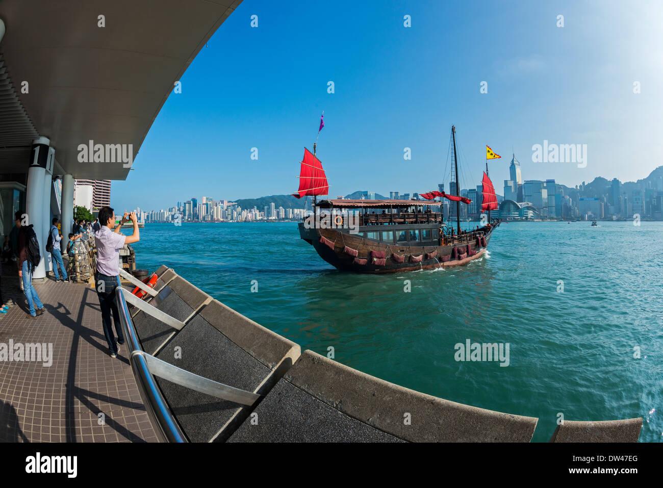 Chinese Junk Ausflugsboot, Victoria Harbour, Hongkong Stockbild